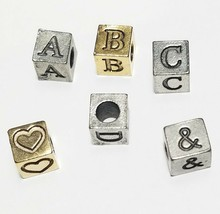 Alphabet Fine Pewter 7mm Cube Bead, 4mm Hole