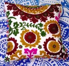 Suzani Pillow Shams Pom Pom 16x16 Embroidered Decorative Cotton Cushion Cover - $12.73