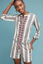 New Anthropologie Embroidered Tania Romper by Berenice $228 X-SMALL Neut... - $71.28