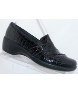 Clarks 'Marigold' black leather croc print round toe elastic slip on loa... - $35.21