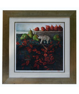 """23"""" Limited Edition Print Signed Sanders McNeal Still Life w/ Figs Elephant - $180.49"""