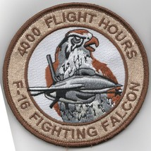 """4"""" Air Force F-16 4000 Hours Fighting Falcon Desert Hook Loop Embroidered Patch - $18.99"""