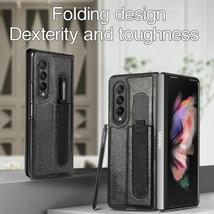 For Samsung Galaxy Z Fold 3  5G Leather Flip back hard Flip Case cover - $96.52