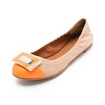 Marc by Marc Jacobs Women's Neon Orange Logo Plaque Flats Shoes size 39 - $99.99