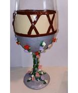 Unique Rapunzel Decorated Wine Goblet Glassware Barware Clay Flower Char... - $18.00