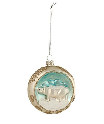 Platinum and Ivory Polar Bear Indent Ornament
