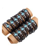 12 Constellation Zodiac Sign Black Braided Leather Jewelry Punk Unisex B... - $6.30