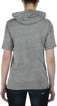 Bench Women's Heather Grey Rollreach Short Sleeve Jumper Hooded Shirt NWT image 2