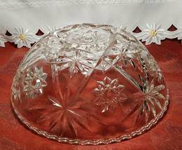 """EARLY AMERICAN PRECUT EAPG STAR OF DAVID GLASS SERVING BOWL 10 3/4"""" image 4"""