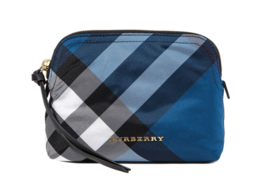 Burberry Women's 17 SS Blue Check Pouch Bag Size (17 x 3 x 6cm) Authentic - $173.99
