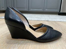 franco sarto womens finnley black leather wedge pumps size 8W - $25.74