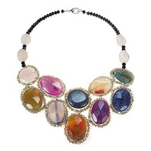 Oval Reconstructed Agate & Fashion Crystal Mosaic Bib Statement Necklace - $82.81
