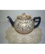 Arthur Wood Roses Chintz Style Teapot Cobalt Blue Handle Staffordshire v... - $28.71