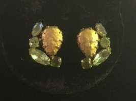Vintage Weiss CLIP-ON Earrings, Gold, Green And Aura Borealis Stones - $24.00