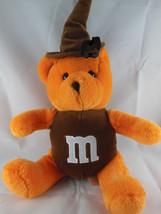"""M&M Nanco Plush Orange Teddy Bear w brown torso 10"""" sitting size + hat M... - $5.30"""