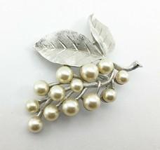 Vintage Trifari Crown Brooch Silver Tone Leaves Faux Pearls on Branch - $33.20