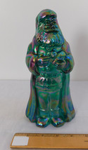 Fenton Green Glass Iridescent Carnival Finish Santa Holding Cat Kitten Figure - $74.99