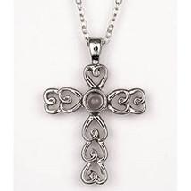 Childs Heart Cross Pendant Lord's Prayer Crystal  - $17.75
