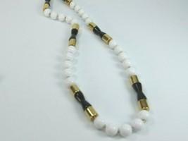 Vintage Napier Black & White Beaded Necklace Strand Long 30392 - $29.69