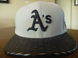 OAKLAND ATHLETICS NEW ERA 59FIFTY LEATHER RIP FIT GRAY/BLACK FITTED HAT ... - $23.99