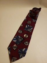 Christian Dior Men's Neck Tie Burgundy Blue 100% Silk Made in USA - $20.65
