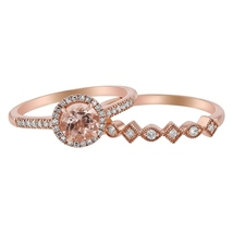 14K Rose Gold Over Silver Round-Cut Morganite & Diamond Wedding Bridal Ring Set - $119.99