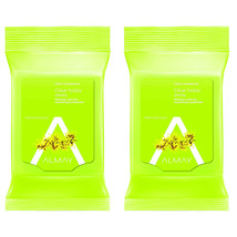 2-New Almay Clear Complexion Makeup Remover Cleansing Towelettes, Hypoallergenic - $10.20