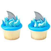 Shark Fin Cupcake Cake 24 PCS Decoration Party Supplies TOPPER KIT Ocean... - $11.83