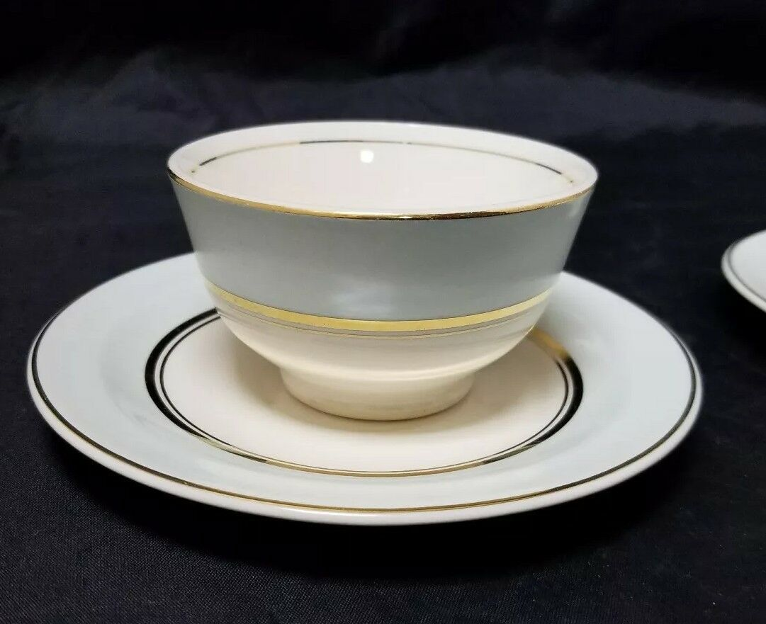 The French Saxon China Co Tea Cup & Saucer Set of 2, 22kt Gold, Pottery Made USA image 2