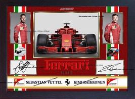 2018 Sebastian Vettel Kimi Raikkonen Ferrari signed autograph print phot... - $19.27