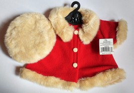 Teddy Bear Coat Red With Tan Fur Trim and A Tan Fur Hat Or Doll  - $9.85