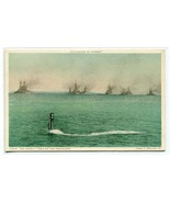 Submarine Periscope Deadly Trail Navy Ship Convoy 1910c Phostint postcard - $6.93