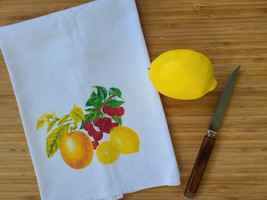 "Vintage Inspired Kitschy Fruit Cotton Flour Sack Tea Towel 15"" x 25"", 1940s-50s"