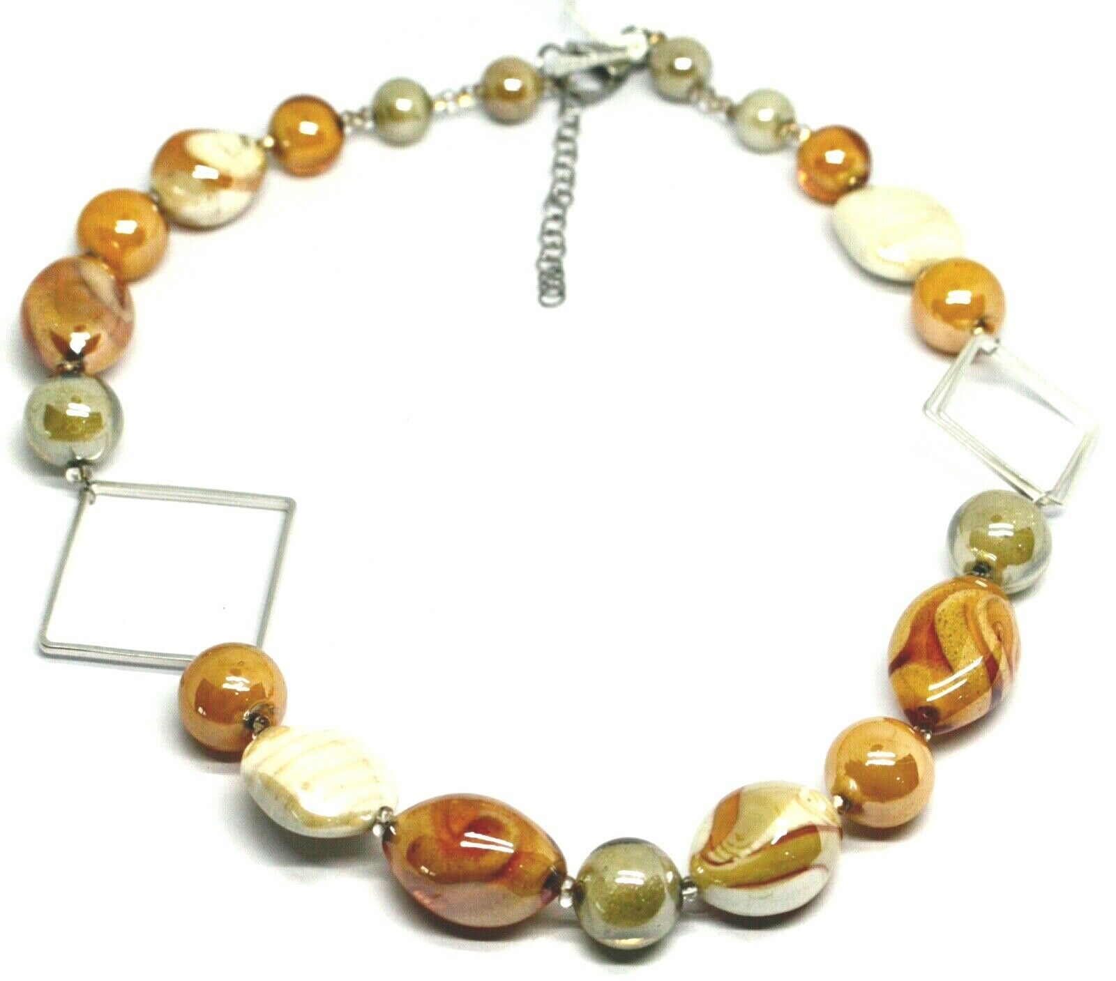 NECKLACE ORANGE WHITE ROUNDED DROP, SPHERE EXAGON MURANO GLASS SQUARE ITALY MADE