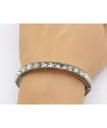 925 Sterling Silver - Vintage White Topaz Flower Etched Bangle Bracelet ... - $116.93