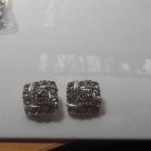 Lisner Silver-tone Square Clear Rhinestone Clip-on Earrings - $21.67