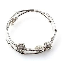 Bracelet Three Roses Hand Memory Chain Bracelet Jewellery Silver Fashion Retro - $17.30
