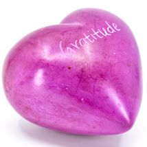 """Vaneal Group Hand Carved Soapstone 2-Sided """"Gratitude"""" Fuchsia Heart Paperweight image 5"""