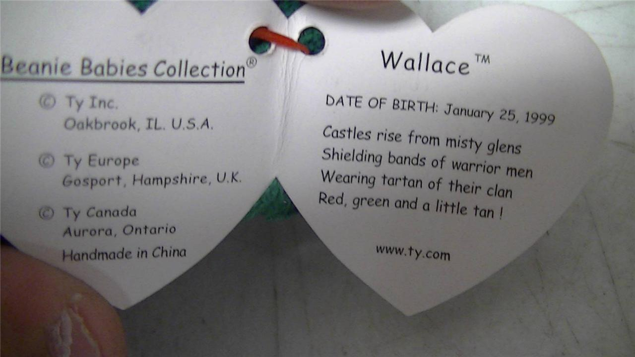 TY Beanie Baby Wallace The Bear 1999