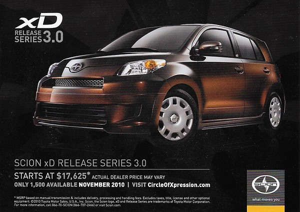 2011 SCION xD RELEASE SERIES RS 3.0 Edition sales brochure card sheet 11 US