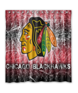 Chicago Black Hawks 08 Shower Curtain Waterproof Polyester Fabric For Ba... - $33.30+