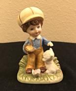 Vintage HOMCO Style Porcelain Figurine of a Little Boy Holding a Basket ... - $6.00