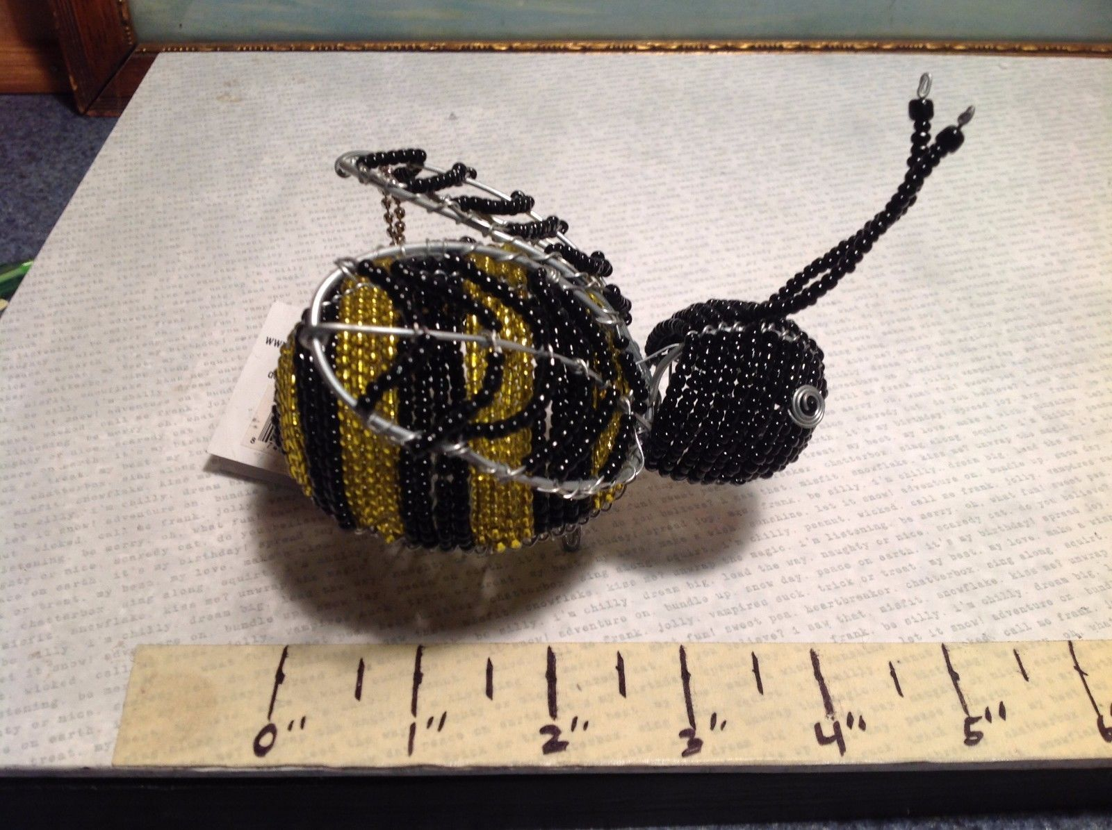 NEW Black n Yellow Beaded Wire Bumble Bee Figurine by Beadworx