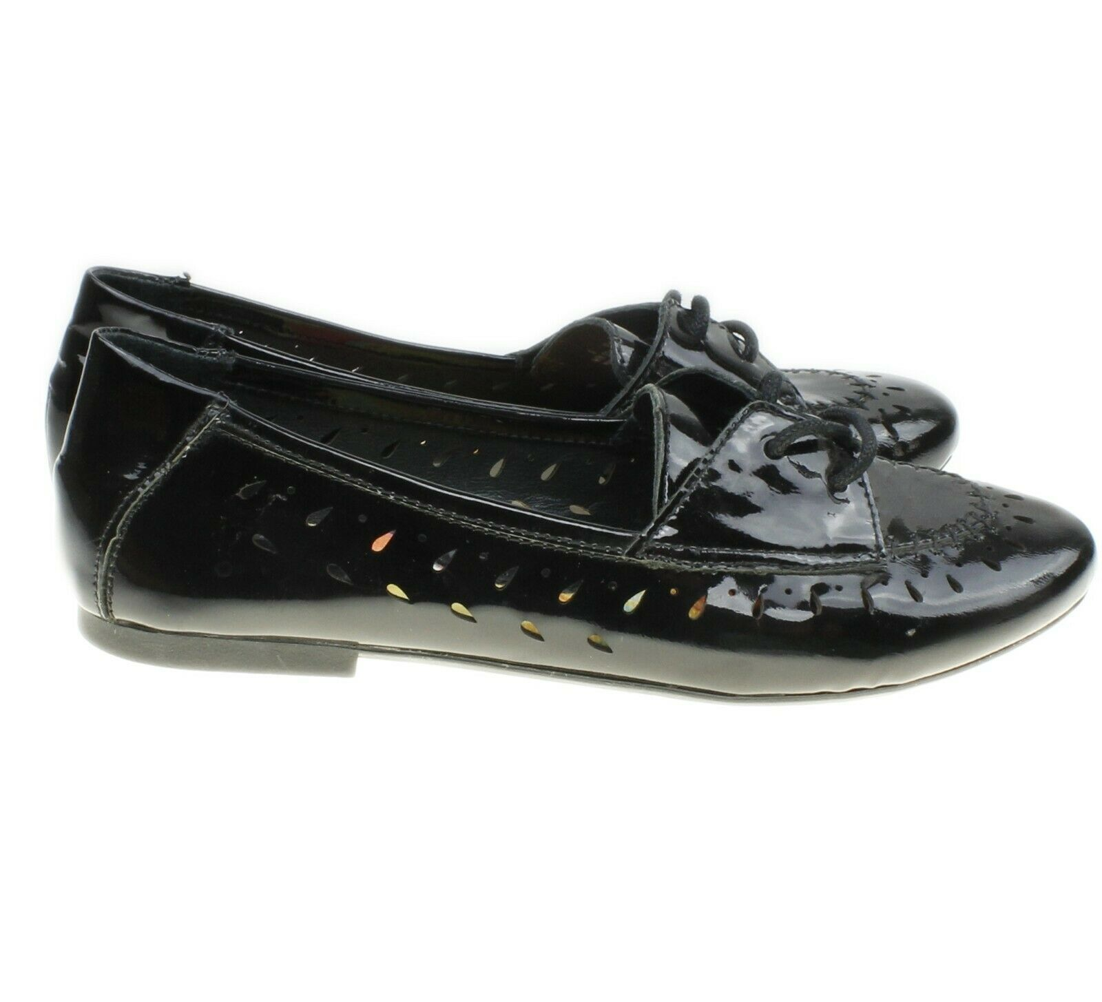 BORN Womens Black Patent Leather Perforated Lace-ups Flats Size 9