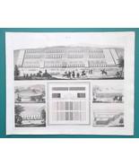 MILITARY Roman Camp Unit Formations Elephants - 1844 Superb Print - $16.20