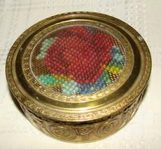 Antique Powder Jar EMBROIDERED ROSE Metal Brass Tone Pattern Trinket Box... - $30.00