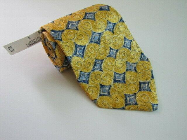 NEW Geoffrey Beene Silk Necktie Yellow Blue Diamond Pattern Luxury Brand Design image 3