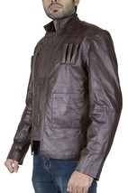 Mens Han Solo Star Wars Force Awakens Harrison Ford Brown Leather Jacket image 3