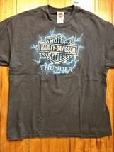 Harley Davidson Mens XL Black T Shirt Graphic Tee Thunder Turn It Up Sem... - $16.39