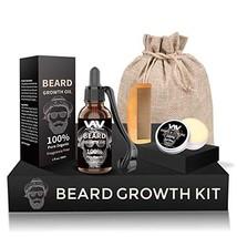 Beard Growth Kit, Derma Roller + Beard Growth Oil Serum + Beard Balm + Brush Com